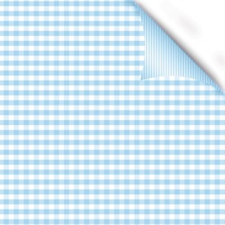 Gingham Blue double sided gift wrap