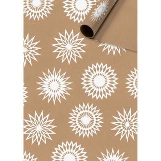 Snowflakes kraft 2m roll wrap