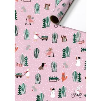 Pink Animals Trees Roll Wrap 3m