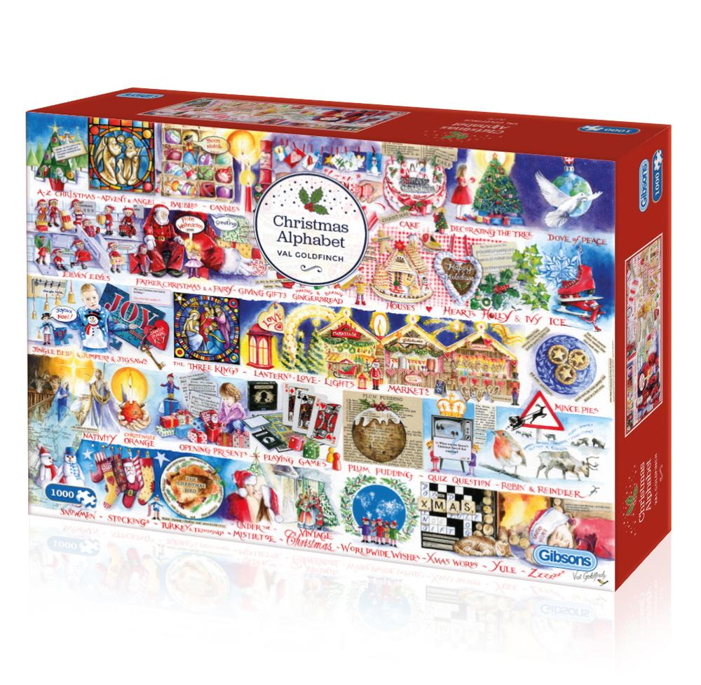 Christmas Alphabet Jigsaw 1000 pc Val Goldfinch