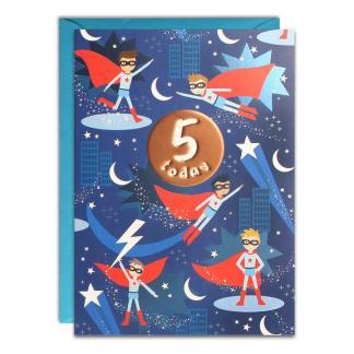 Age 5 Superhero Birthday Card