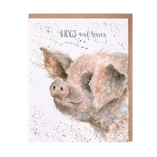 'Hogs and Kisses' pig card