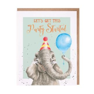 Get this party started elephant card