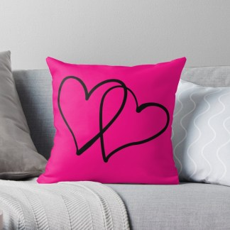 Double heart on pink Cushion