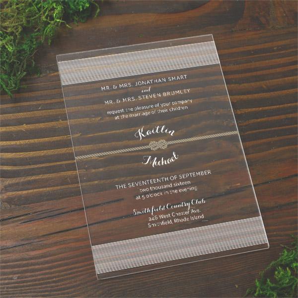 Tie The Knot 5x7 Acrylic Wedding Invitation