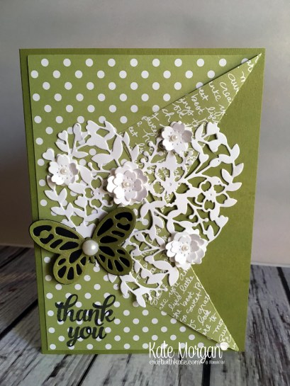 Thank you card for OnStage using Stampin Ups Bloomin Heart thinlits & Butterflies by Kate Morgan, Independent Demonstrator Australia 2017