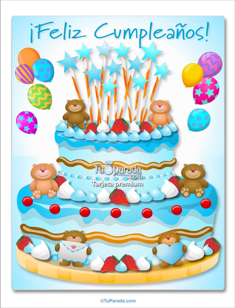 Torta Con Ositos Celeste Imgenes De Cumpleaos Tarjetas