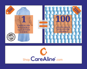 an image of one careAline reusable isolation gown next to an image of one hundred disposable isolation gowns with an equals sign between the two showing that the CareAline reusable isolation gown is equal to 100 disposables with a cost difference of $40 for carealine vs $250 for disposables.