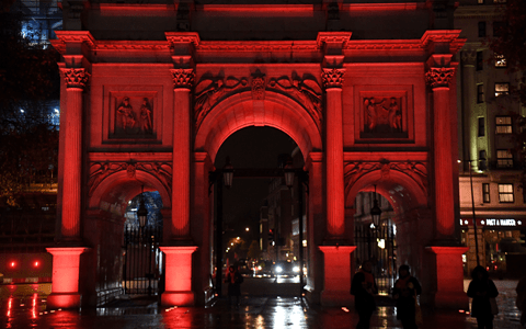 Marble Arch lit up in bright orange for campaign tackling violence against women 4