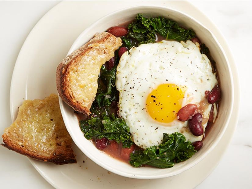 Bean Kale and Egg Stew