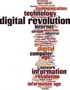Digital revolution word cloud concept. Vector illustration