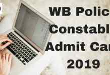 WB Police Constable Admit Card 2019 Aglasem