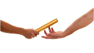 handing off baton