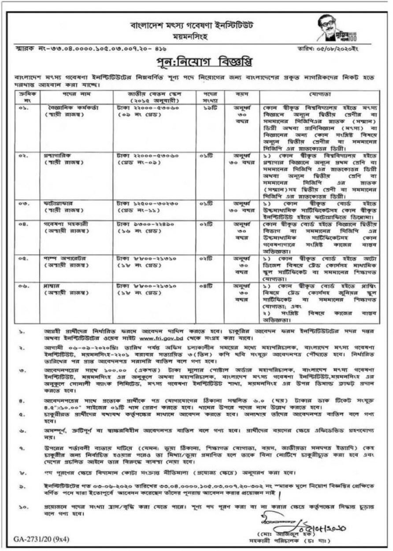 bangladesh-fisheries-research-institute-revised-job-circular