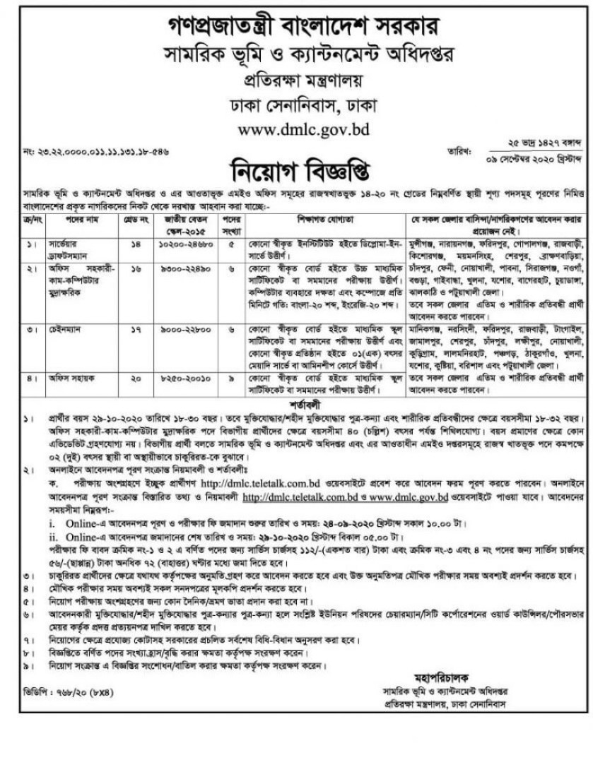 ministry-of-defence-job-circular-2020