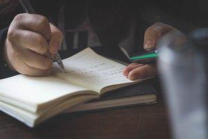 notebook, hand, pen