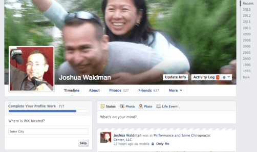 Facebook, complete your profile