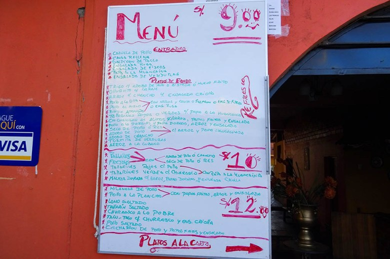 Menú restaurants are a great way to eat in Peru on a budget and experience the local culture