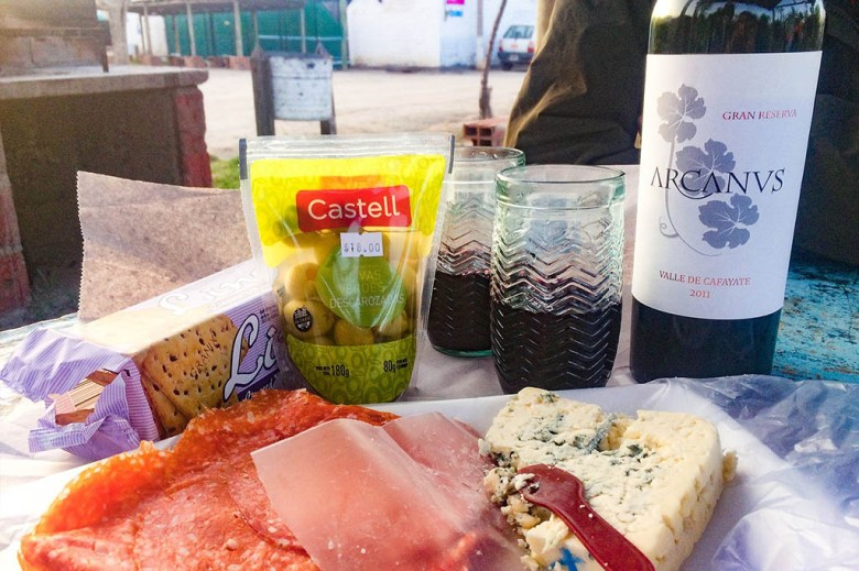 We enjoyed a bottle of gran reserva wine from Nanni Bodega, Cafayate, with some local meats and cheeses