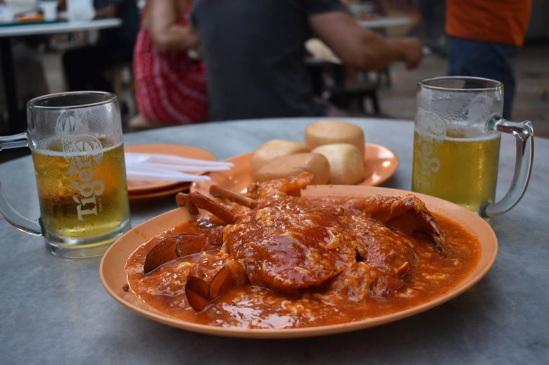 Lau Pa Sat, a hawker centre in the city centre, is a cheap place to try chilli crab