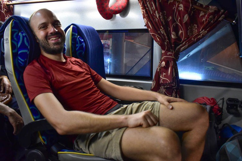 Front row seats on a double-decker coach provide the most leg room