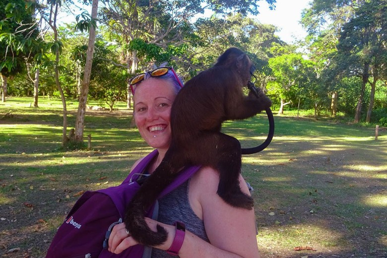 Pancho the monkey quickly figured out how to use Lisa's camel pack