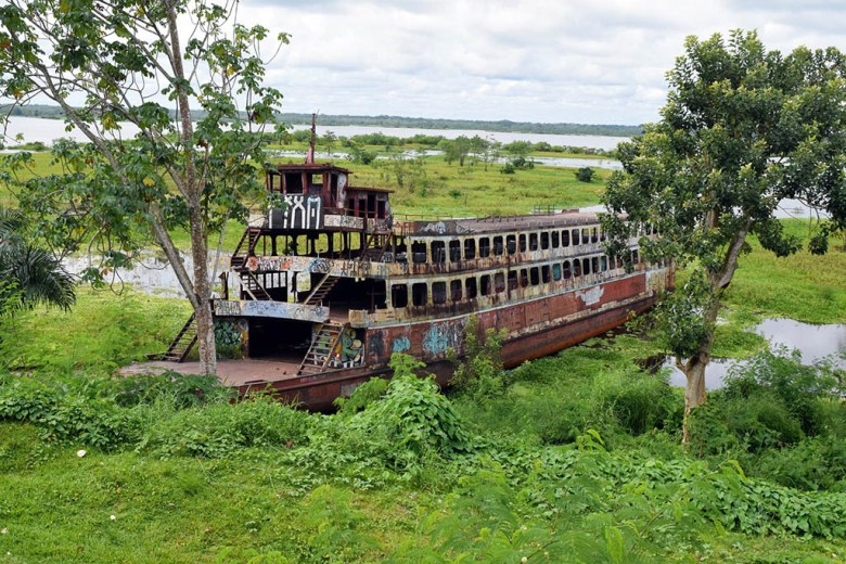 An old shipwreck on the Itaya riverfront, Iquitos