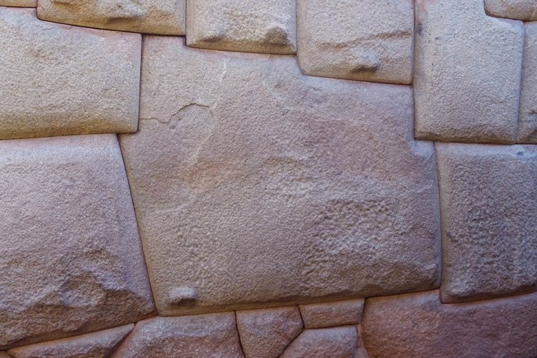 The twelve-angled stone is an Incan artefact on the streets of San Blas