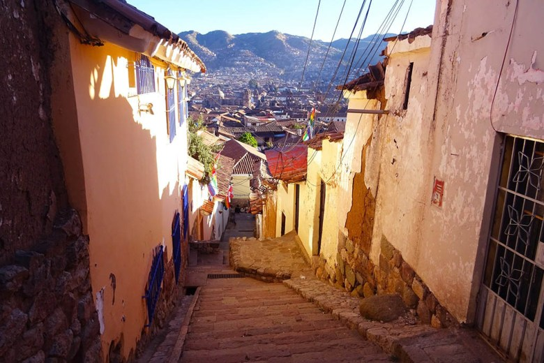 You can see across the whole city from the cobbled streets of San Blas