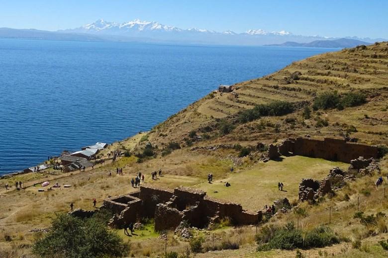 Lake Titicaca Bolivia style: Inca ruins on Isla de la Luna
