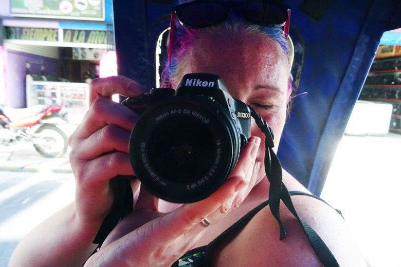 Lisa with her Nikon D3300 before we upgraded to the D5600