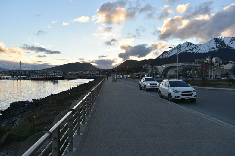 Ushuaia's coastal avenue is a beautiful spot on the waterfront to see the sun set behind the mountains