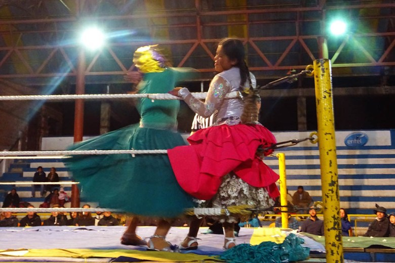 Cholita wrestling is inspired by the lucha libre style, originating from Mexico