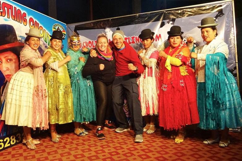 Our photo opportunity with the team of cholita wrestlers after the show