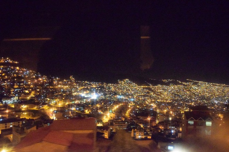 The city lights of La Paz at night on our way home after the cholita wrestling show