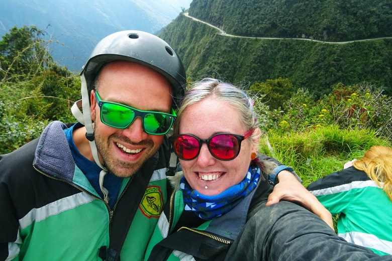 Alex and I at the beginning of our Death Road mountain biking tour with Barracuda Biking
