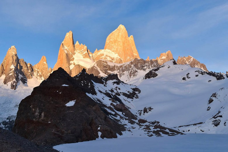 Mount Fitz Roy at sunrise over Laguna de los Tres is one of Patagonia's most famous images