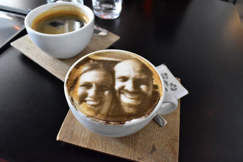 Things to do in Bratislava: have your selfie printed on a coffee at Five Points
