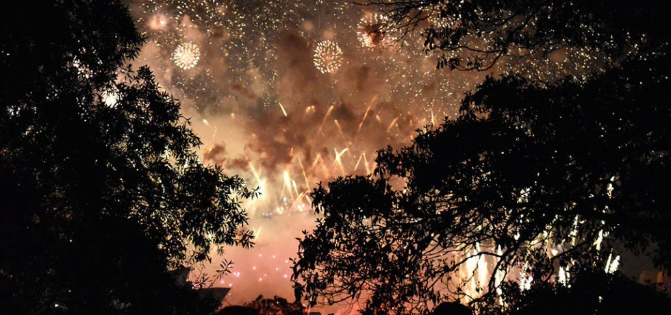 The Sydney NYE fireworks above Harbour Bridge from Mrs Macquarie's Chair