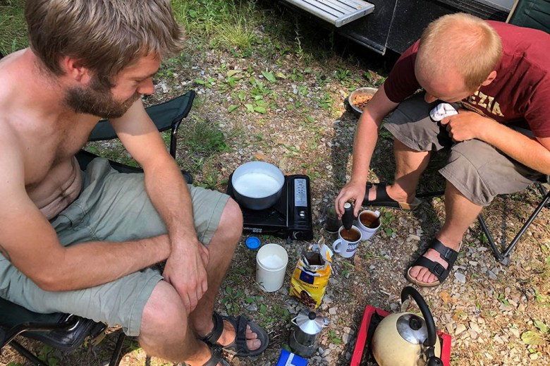 A camping stove enabled us to make meals and have a brew when the gas ran out