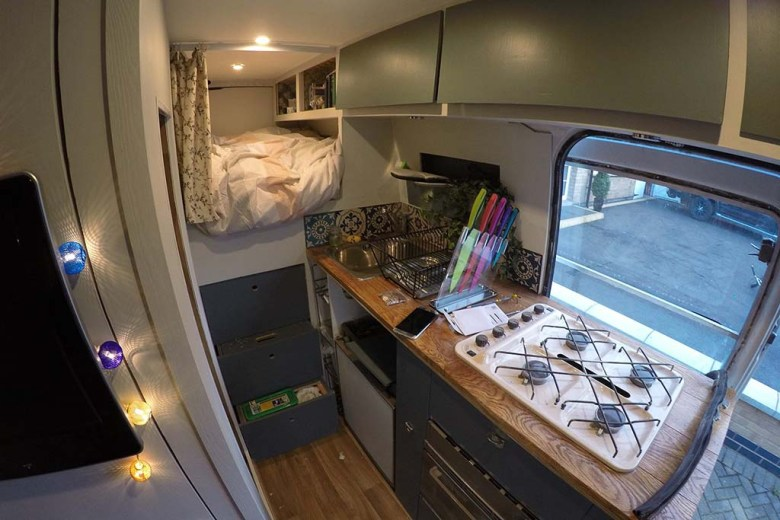 After conversion: a peek inside our van's interior