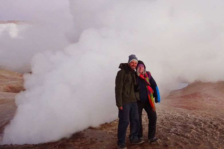 Hanging out at the Bolivian geysers at nearly 5,000 metres above sea level