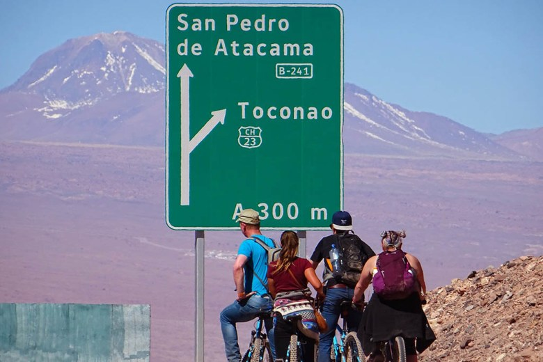 Hiring bicycles is a great way to explore the scenery around San Pedro de Atacama, Chile