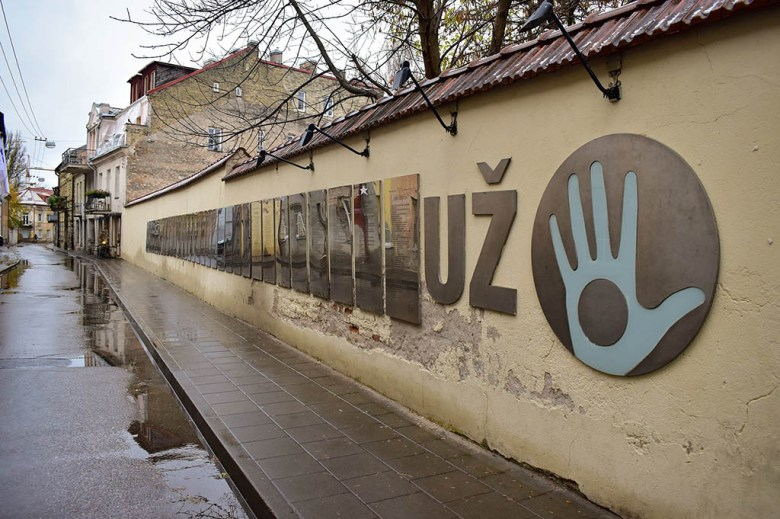 The constitution of the Republic of Užupis is displayed in various languages on these plaques