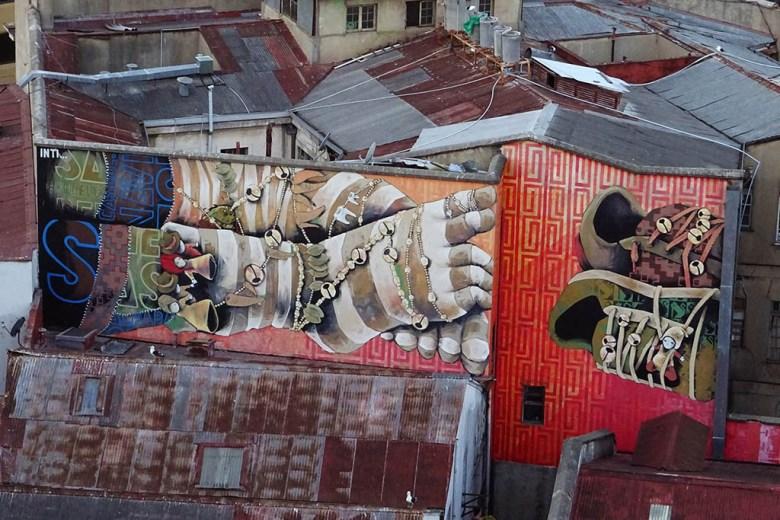 Murals in Valparaíso by legendary local street artist Inti