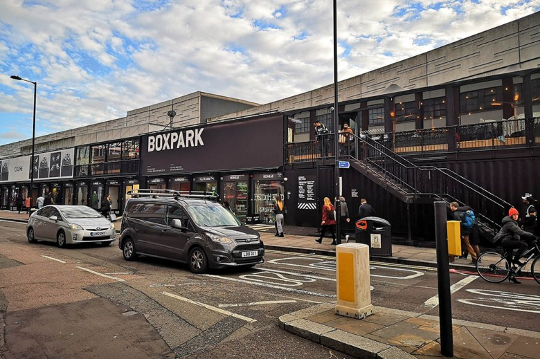 Boxpark is a mall of street food, bars and fashion outlets made entirely from shipping containers