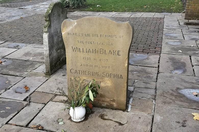 The gravestone of legendary English poet William Blake in Bunhill Fields Burial Ground
