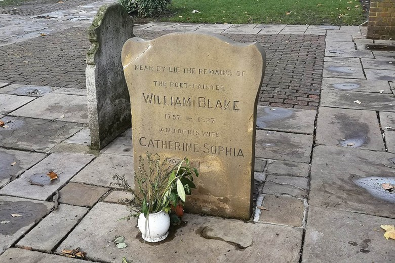 The gravestone of legendary English poet William Blake in Bunhill Fields Burial Ground