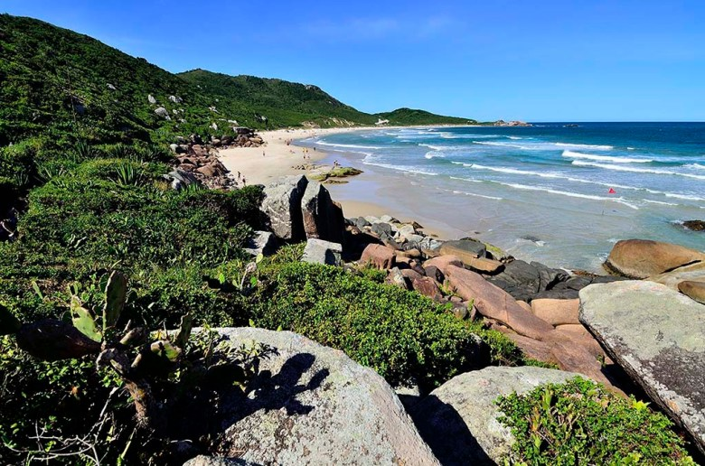 Praia Galheta is one of several beaches in Florianópolis only accessible by foot