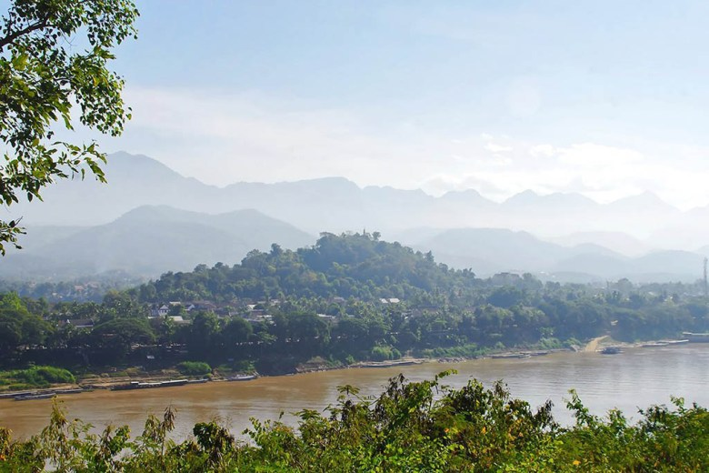 View of Luang Prabang over the Mekong river from the Chomphet hike